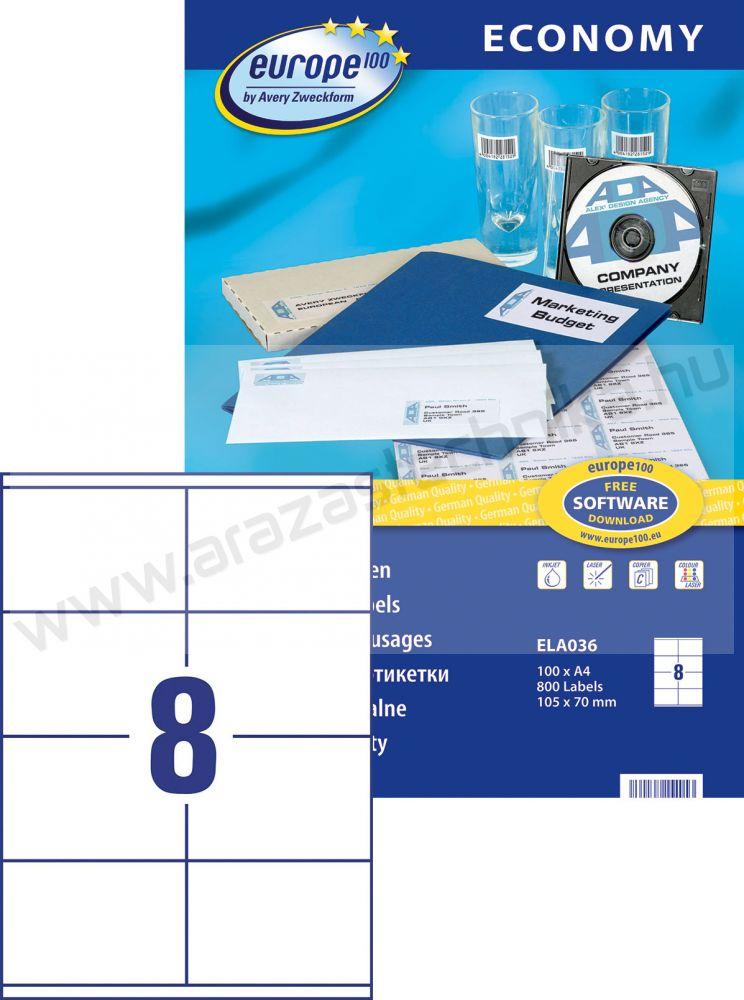 105 x 70 mm Europe100 univerzális etikett (8) Avery ELA0036