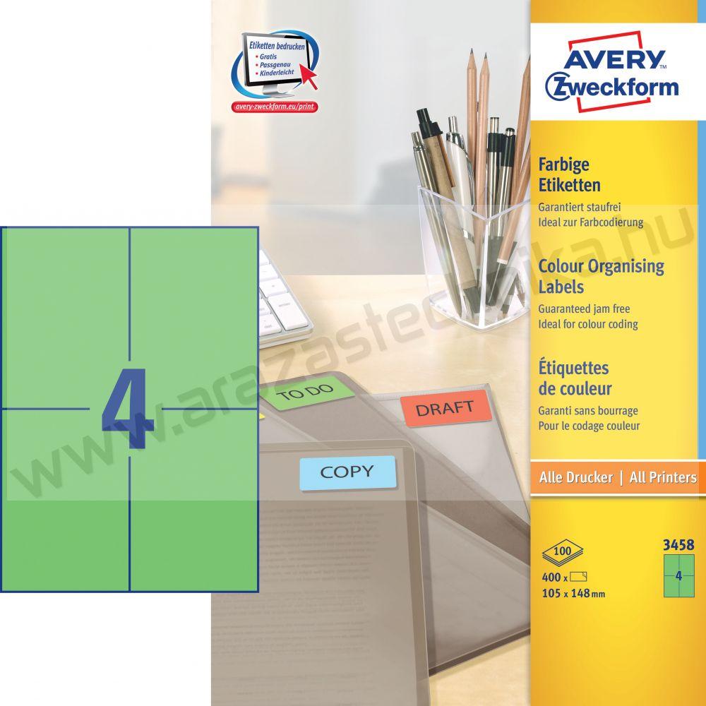 105 x 148mm zöld univerzális címke / Avery 3458