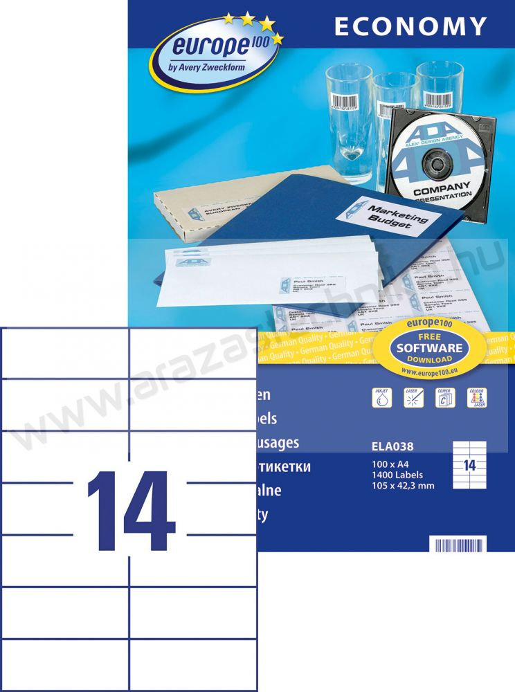 105 x 42,3 mm Europe100 univerzális etikett (14) Avery ELA0038