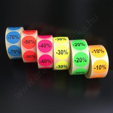 38 mm körcímke - fluo alapon -10% -20% -30% -40% -50% -70%