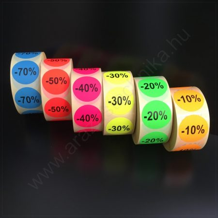 38 mm körcímke - fluo alapon -10% -20% -30% -40% -50% -70%