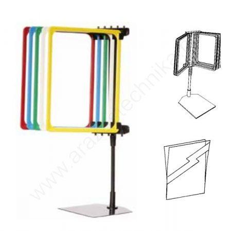 Lapozható 5db×A4 színes keret+PVC zseb - info állvány