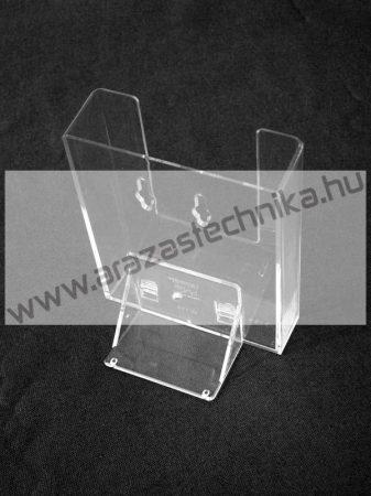 Prospektustartó A6 plexi (fali - asztali szórólaptartó)