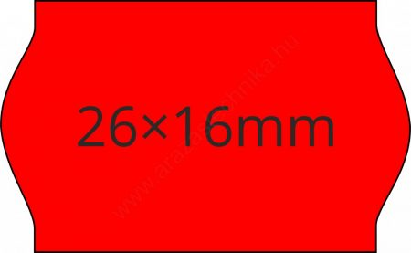 26x16mm FLUO piros ORIGINAL árazócímke (1.000db/tek)
