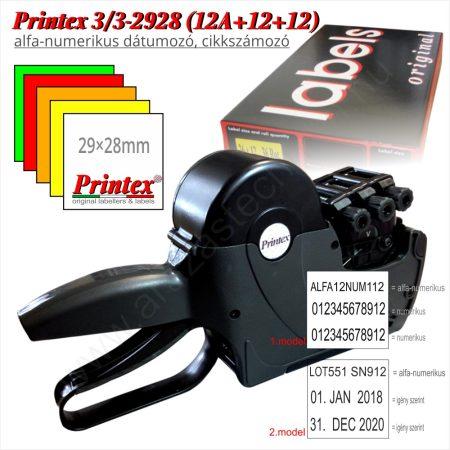 PRINTEX 3/3-2928 (12A+12+12) alfa-numerikus 3 soros árazó - dátumozógép