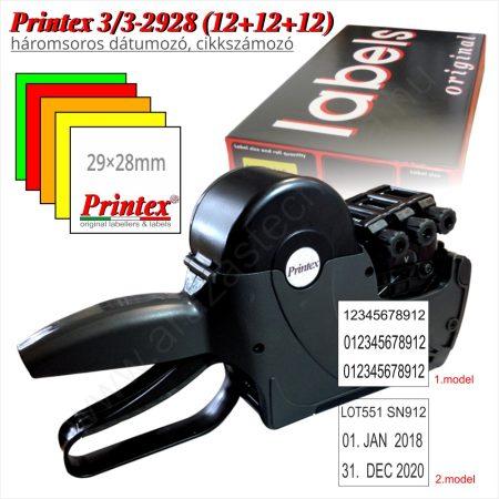 PRINTEX 3/3-2928 (12+12+12) háromsoros dátumozógép
