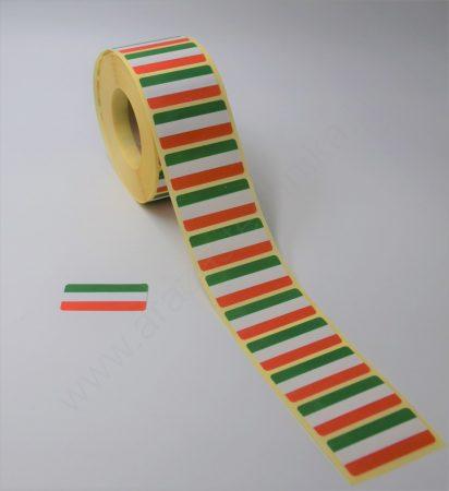 43×20mm Magyar Termék címke - Nemzeti színű etikett 1500 db/tekercs