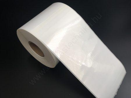 102×210 mm műanyag címke / PP WHITE / időjárás álló / erős ragasztós / perforált címkeköz