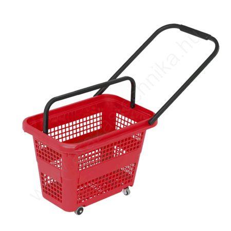 32 literes gurulós bevásárló kosár - piros