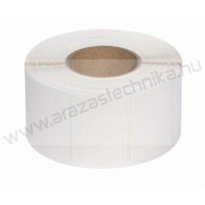 Kartoncímke PES 70 mm×25 méter folyamatos/ időjárásálló műanyag címke / nem öntapadós