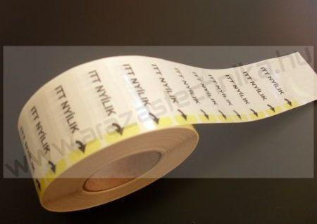 Címke 15×40mm átlátszó műanyag lezárócímke ITT NYÍLIK felirat