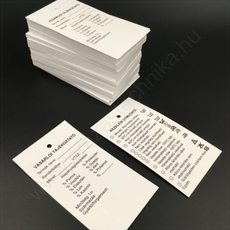 Függő címke 45×80 mm VÁSÁRLÓI tájékoztató címke - KEZELÉSI útmutató (250 db/csom)