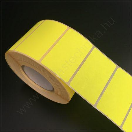 50×30mm fluo CITROM papír címke (1.000db/tekercs) visszaszedhető ragasztóval