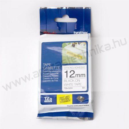 12mm Brother TZe-S231 szalag fehér-fekete (eredeti)