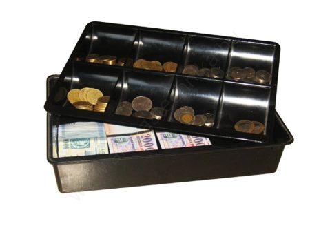 Pénztartó tálca bankjegy és aprópénztartó fekete műanyag kassza