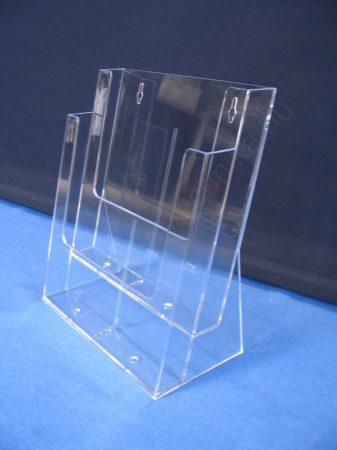 Prospektustartó A4 méret 2 rekeszes asztali szórólaptartó