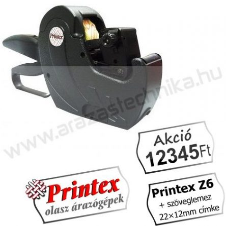 PRINTEX Z6 egysoros árazógép (6 karakter) 22×12mm címke + Akció! szöveglemez