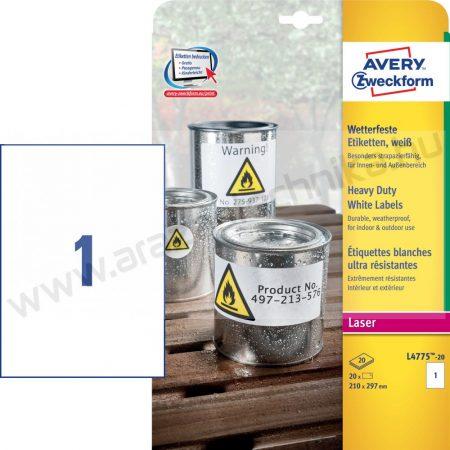 Időjárásálló fehér poliészter címke - 210x297 mm (Avery L4775-20)