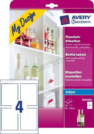90x120 mm (Avery MD4001) - borosüveg címke fotó minőségű tervező szoftverrel