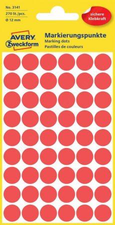 Jelölőpont - 12mm  (Avery 3141) piros