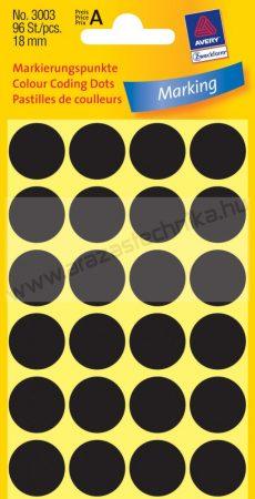 Jelölőpont - 18mm (Avery 3003) fekete