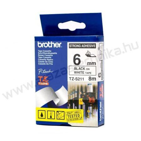 6mm Brother TZe-S211 szalag fehér/fekete