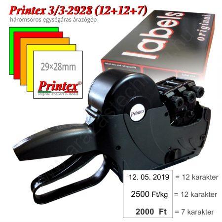 PRINTEX 3/3 T2928 (12+12+7) egységáras árazógép