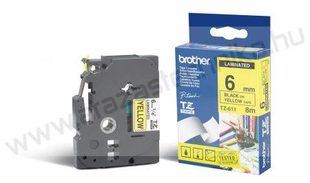 6mm Brother TZe-611 szalag sárga/fekete