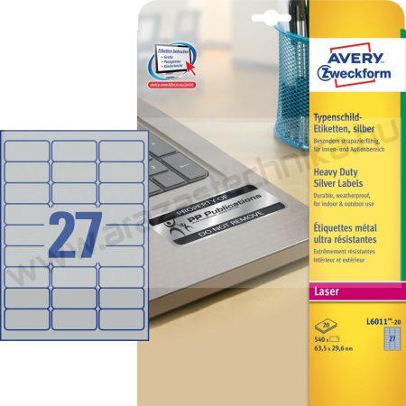 63,5x29,6mm ipari ezüst poliészter címke  (Avery L6011-20)