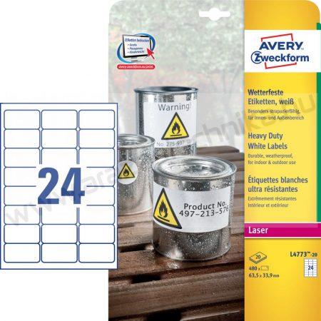 Időjárásálló fehér poliészter címke 63,5x33,9 mm (Avery L4773-20)