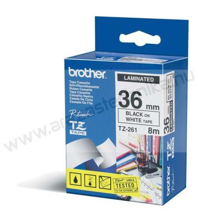 36mm Brother TZe-261 szalag fehér/fekete