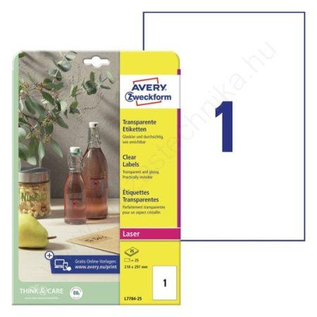 Átlátszó, víztiszta PE műanyag címke 210 x 297mm (Avery L7784-25)