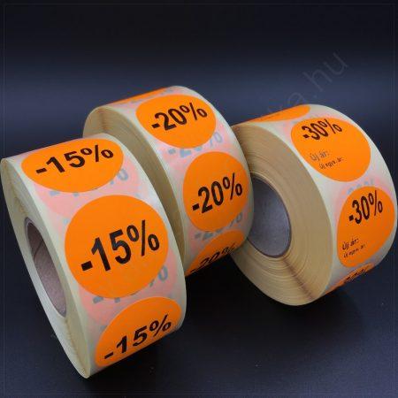 35 mm EGYEDI feliratos fluo NARANCS körcímke - visszaszedhető ragasztóval