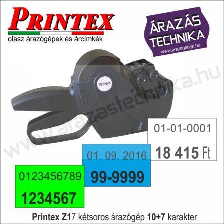 PRINTEX Z17 kétsoros árazógép, 10+7 karakter (dátumozógép)