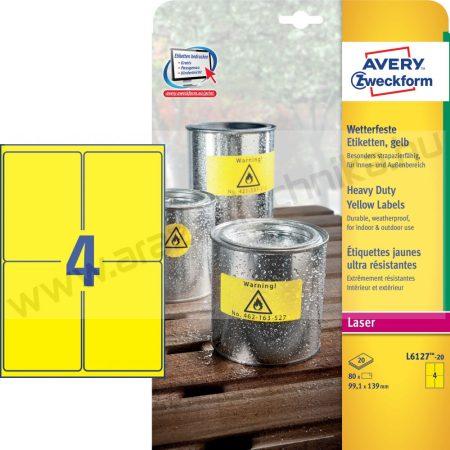 Időjárásálló sárga poliészter címke 99,1x139mm (Avery L6127-20) sárga