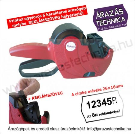 PRINTEX Z6/2616 egysoros árazógép +Reklám