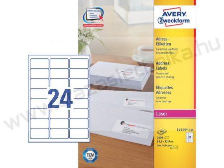 63,5x33,9 mm etikett címke 24 db/ív  (Avery L7159)