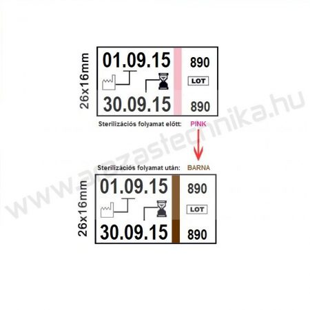 26×16mm STEAM indikátor címke autoklávba