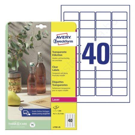 Víztiszta átlátszó etikett 45,7 x 25,4 mm / Avery L7781-25