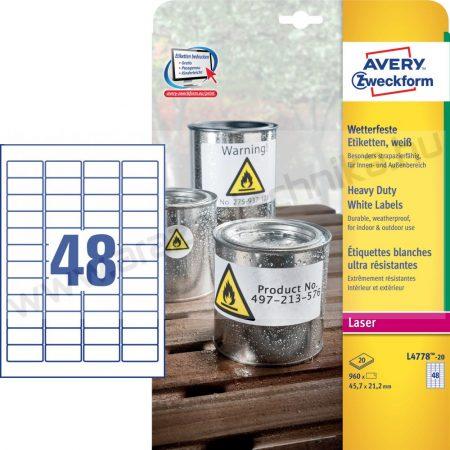 Időjárásálló fehér poliészter címke 45,7x21,2mm / Avery L4778-20