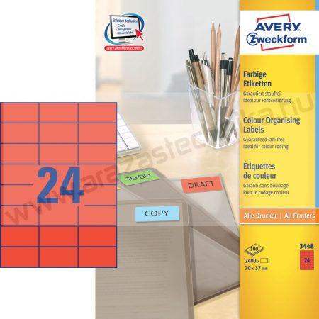 70x37mm piros univerzális címke (Avery 3448)