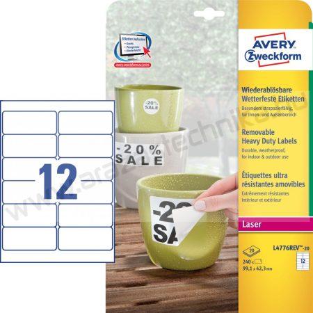 Időjárásálló fehér poliészter címke -  99,1x42,3 mm (Avery L4776-20)