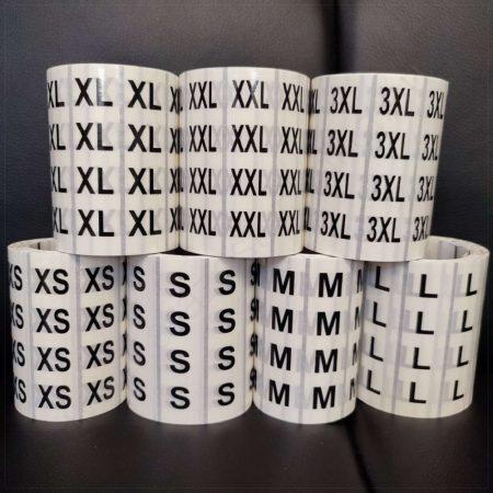 Méretjelző 80×20 mm PP CLear átlátszó XS, S, M, L, XL, L, XXL, 3XL