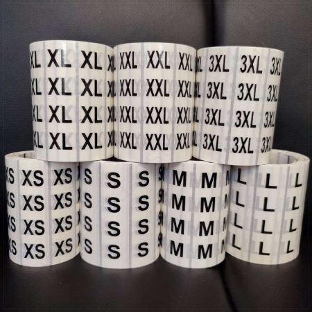 Méretjelző 80x20 mm PP CLear átlátszó XS, S, M, L, XL, L, XXL, 3XL