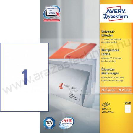 210x297 univerzális fehér etikett (Avery 3478)