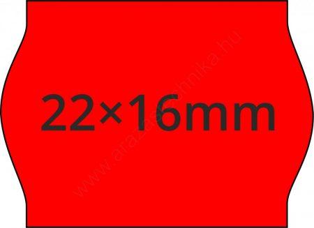22x16mm FLUO piros  árazócímke METO1622 árazógéphez (42tek/#)