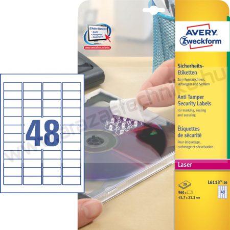 45,7x21,2mm biztonsági címke (Avery L6113-20)  - fehér poliészter