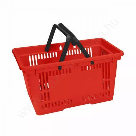 Bevásárló kosár kézi  kétfüles 28 literes piros
