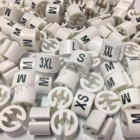 Méretjelző karika vállfára - FEHÉR alap - FEKETE betű (XXS, XS, S, M, L, XL, XXL, 3XL)