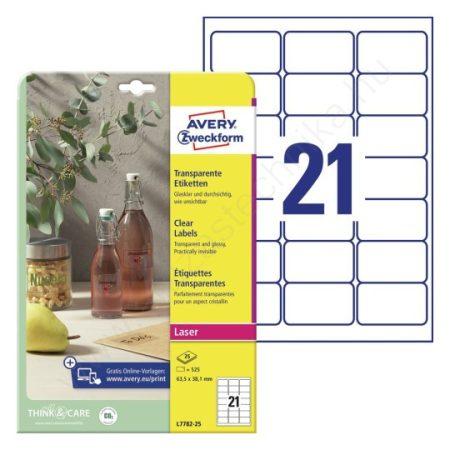 Átlátszó, víztiszta PE műanyag címke 63,5 x 38,1 mm (Avery L7782-25)